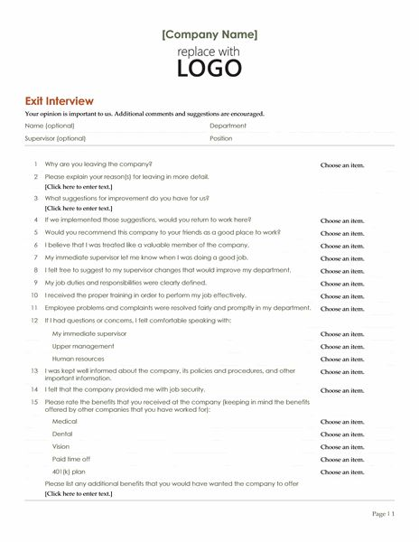 Employee exit interview - Office Templates
