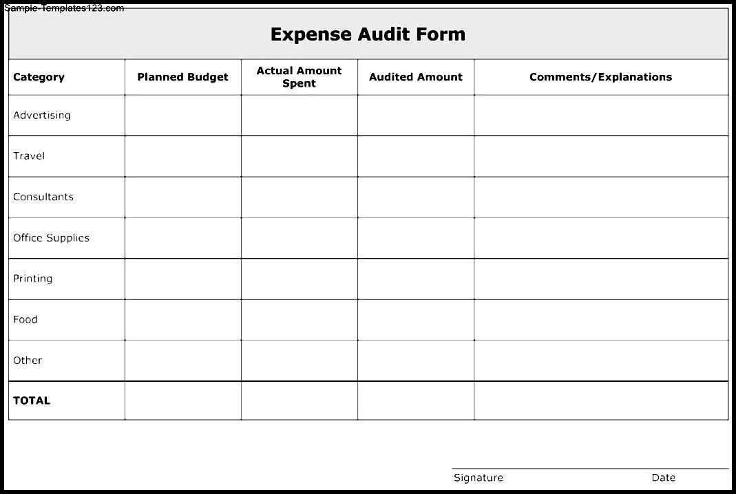 Nice Expense Audit Form Template Example with Category and Planned ...