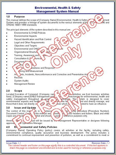 Environmental, Health and Safety Manual Template