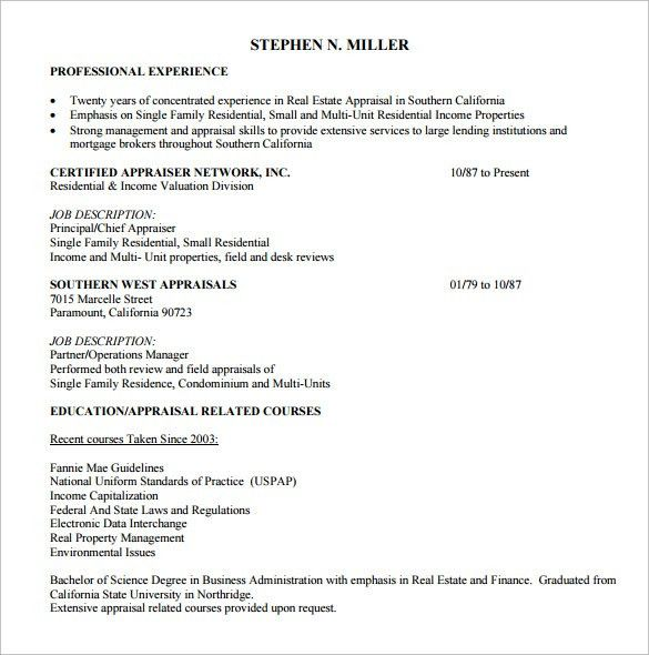 Sample Real Estate Resume - 14 + Download Free Documents in PDF, Word