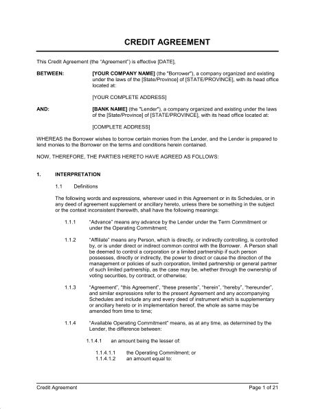 Credit Agreement - Template & Sample Form | Biztree.com