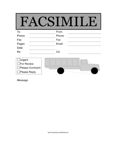 Trucking Fax Cover Sheet at FreeFaxCoverSheets.net