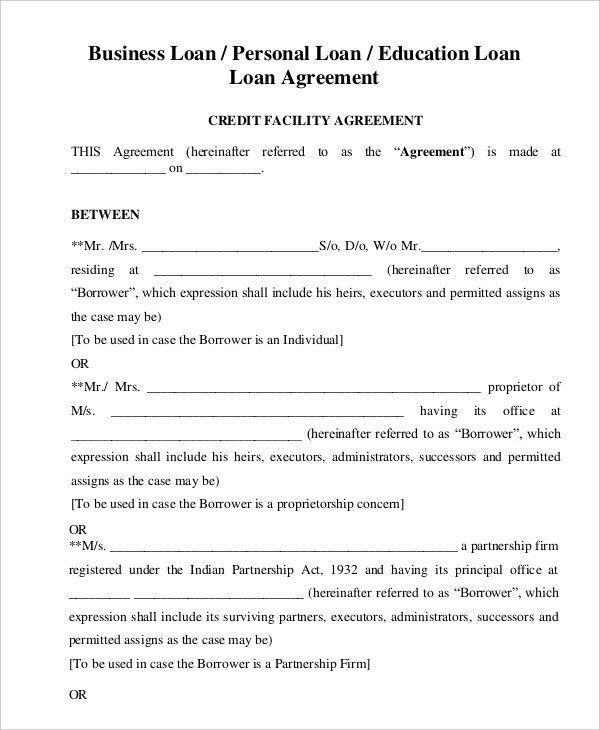 Loan Agreement Template - 11+ Free Sample, Example, Format | Free ...