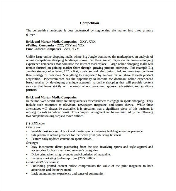 Sample Retail Business Plan Template - 6+ Documents in PDF, PSD