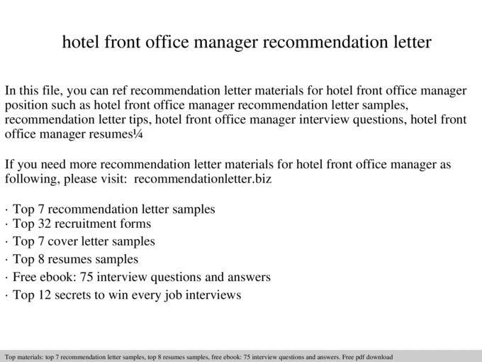 Hotel front office manager recommendation letter - Documents
