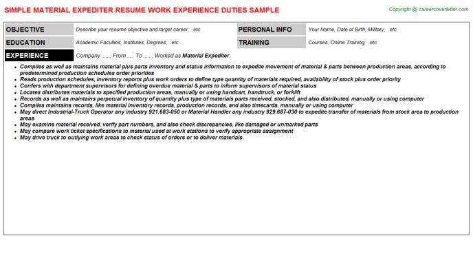 Material Expediter Resume Sample