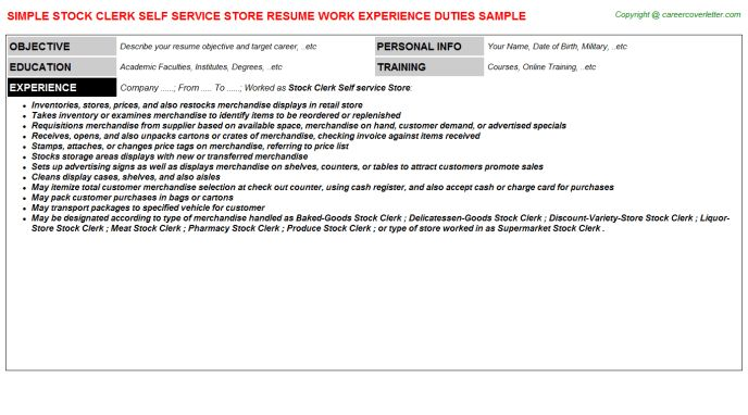 Stock Clerk Self Service Store Resume Sample