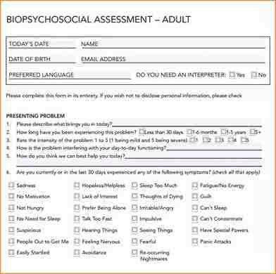 Biopsychosocial Assessment Template. 3 Biopsychosocial Assessment ...