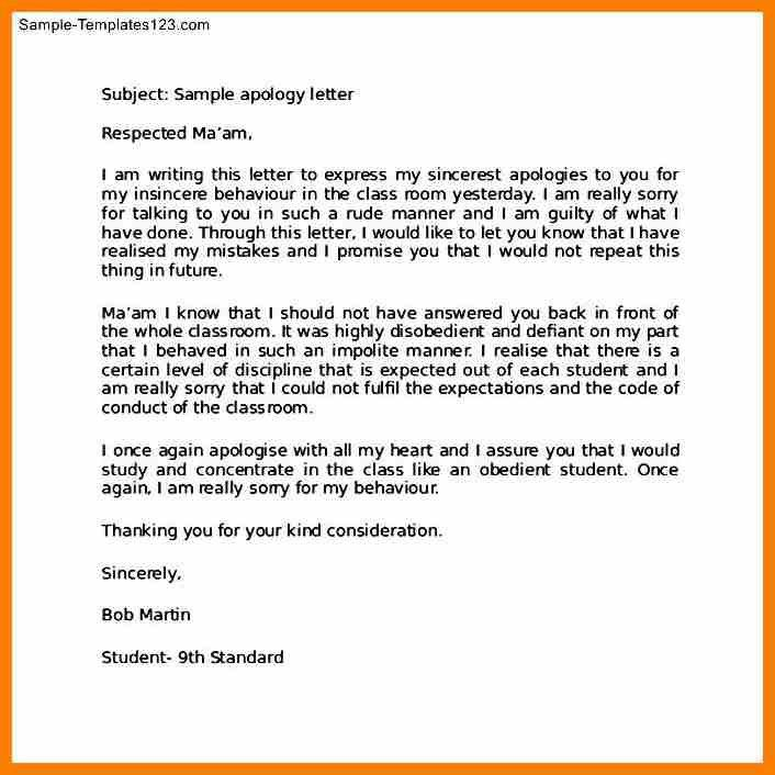 Sample Apology Letter To Teacher. Apology Letter Template For Kids ...