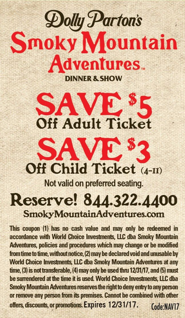 Smoky Mountain Coupons for Pigeon Forge, Gatlinburg and Sevierville