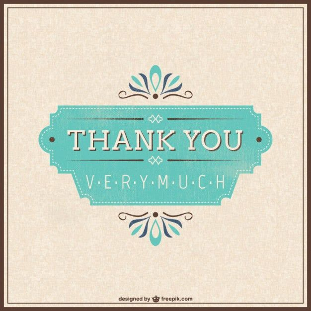 Retro thank you card Vector | Free Download