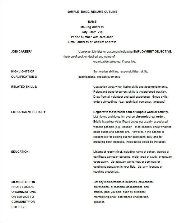 Resume Outline Template – 13+ Free Sample, Example, Format ...