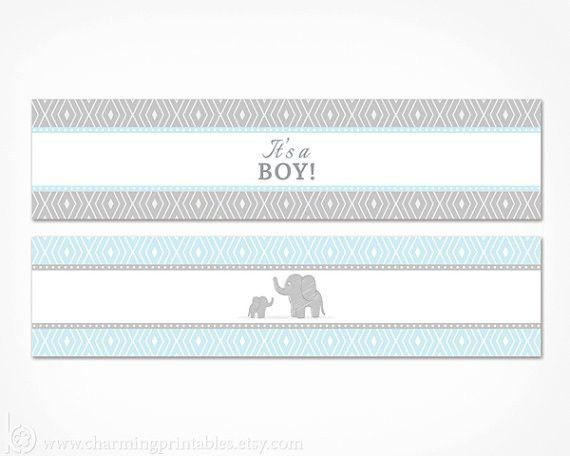 Blue Elephant Water Bottle Labels Printable Its A Boy Baby
