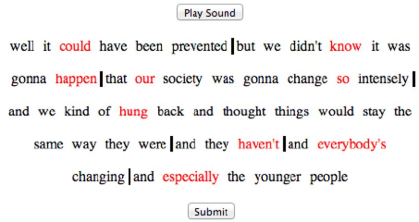 Example transcript and action buttons for a speech excerpt ...