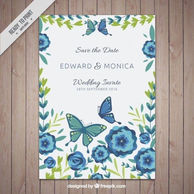Invitation card template with flowers and butterflies Vector ...