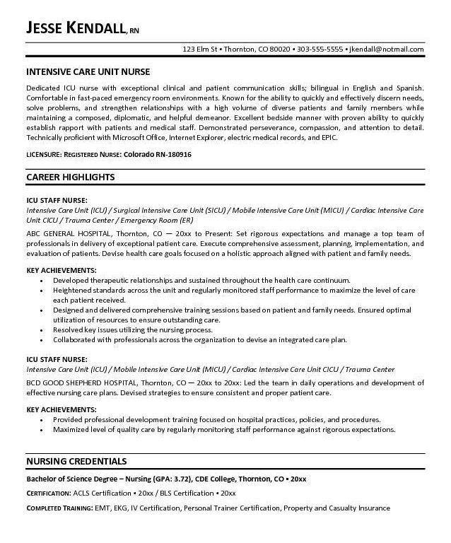 Peachy Critical Care Nurse Resume 8 Nursing Resume Sample Writing ...