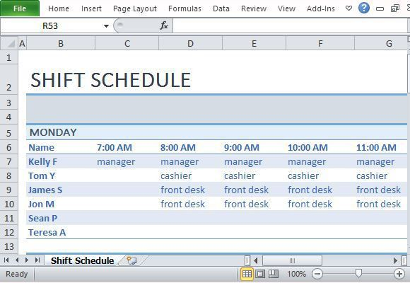 Weekly Employee Shift Schedule Template Excel – Project Management ...