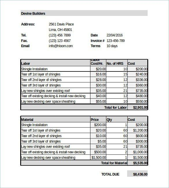Roofing Estimate Template | Template Design