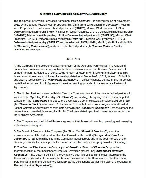 Real Estate Partnership Agreement. Printable Sample Letter Of ...