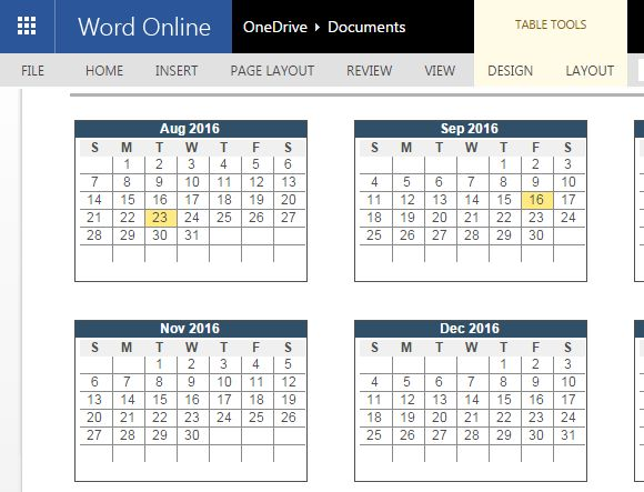 2016-2017 Academic Calendar Template For Word Online