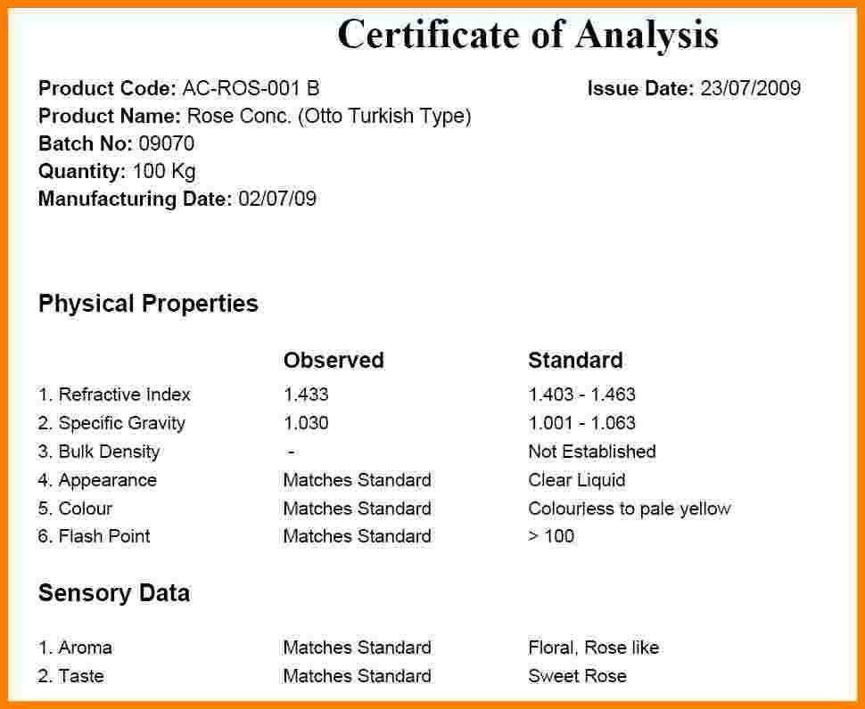 Certificate Of Analysis Template. Certificate Of Service Federal ...