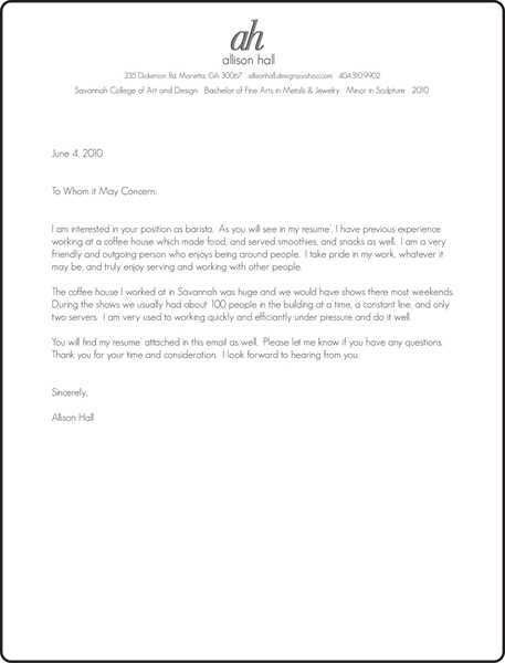 Barista Cover Letter, hospitality aide cover letter #76, cover ...