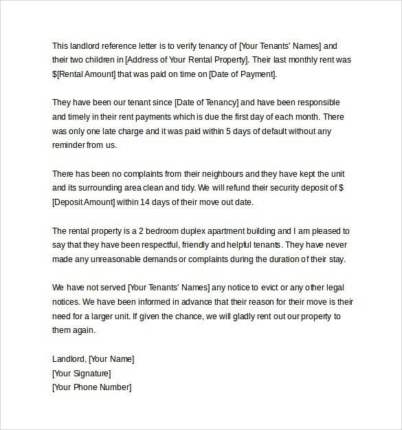 Sample Landlord Reference Letter Template. Landlord Reference ...