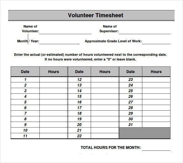 13+ Volunteer Timesheet Templates – Free Sample, Example Format ...