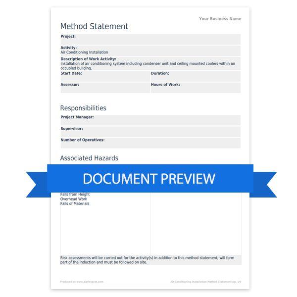 Method Of Statement Sample Sample Method Statement Template 8 – Method Statements Template