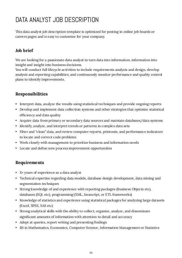 description data analyst resume sample resume cover letter biodata ...