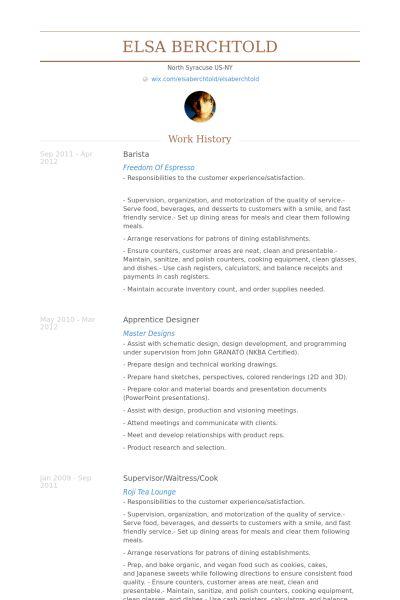 Barista CV Beispiel - VisualCV Lebenslauf Muster Datenbank
