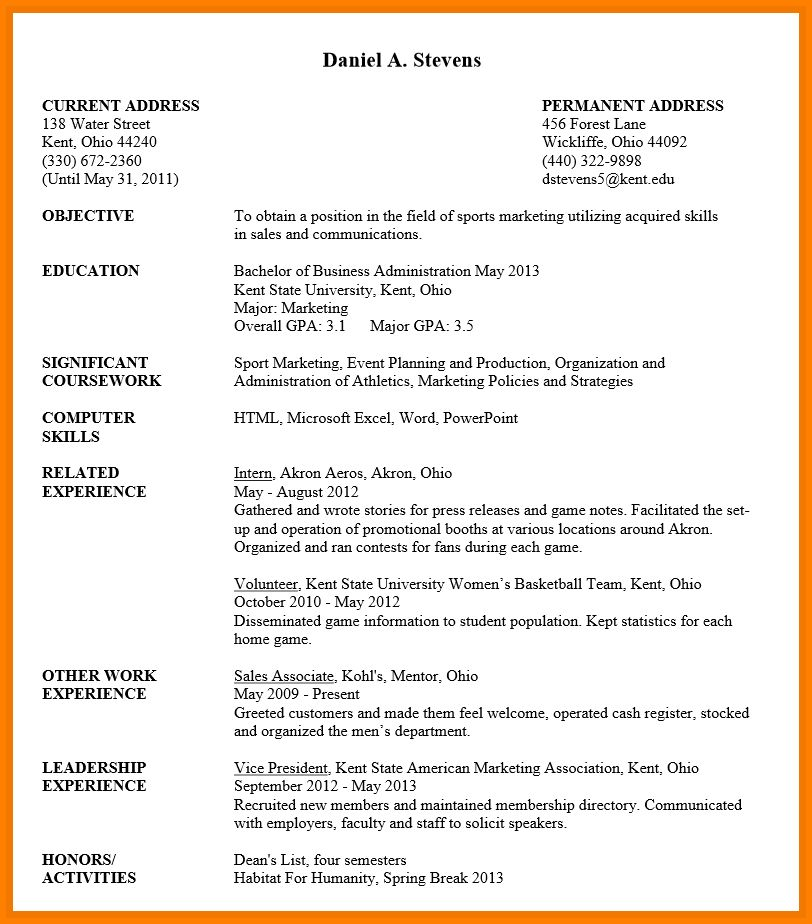 Download Undergraduate Resume Template | haadyaooverbayresort.com