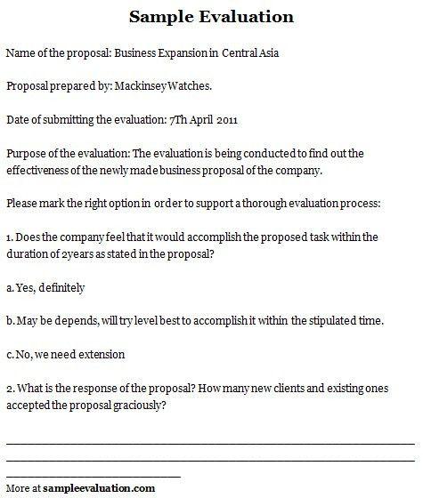 Sample Evaluation, Evaluation