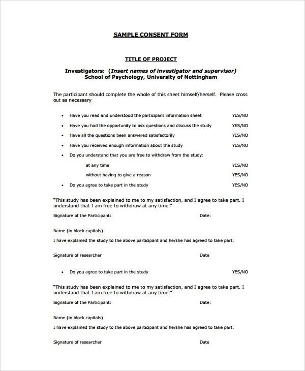 Sample Psychology Consent Form - 7+ Free Documents Download in PDF ...
