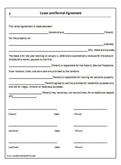 rental agreement forms | Lease Agreement Form | Copter Plane ...