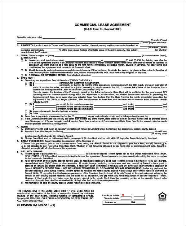 Sample Commercial Lease - 9+ Examples in Word, PDF