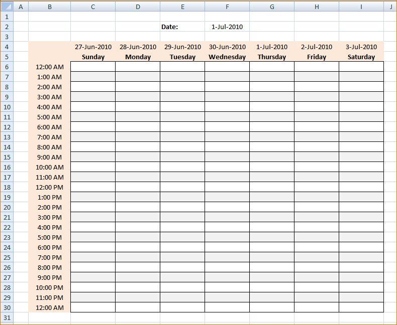 4+ weekly hourly calendar   Ganttchart Template
