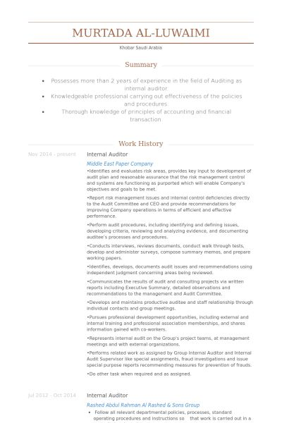 Internal Auditor Resume | berathen.Com
