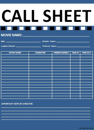 Call Sheet Template | Professional Word Templates