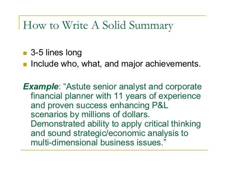 sample resume summary resume cv cover letter sample of resume ...