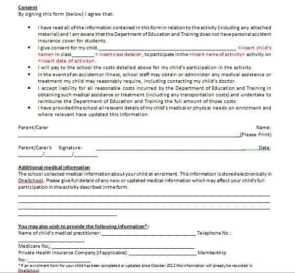 Medical Release Form For Minor. Daycare Medical Forms Daycare ...