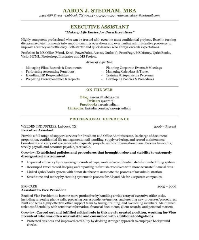 Executive Administrative Assistant Resume. Resume Template For ...