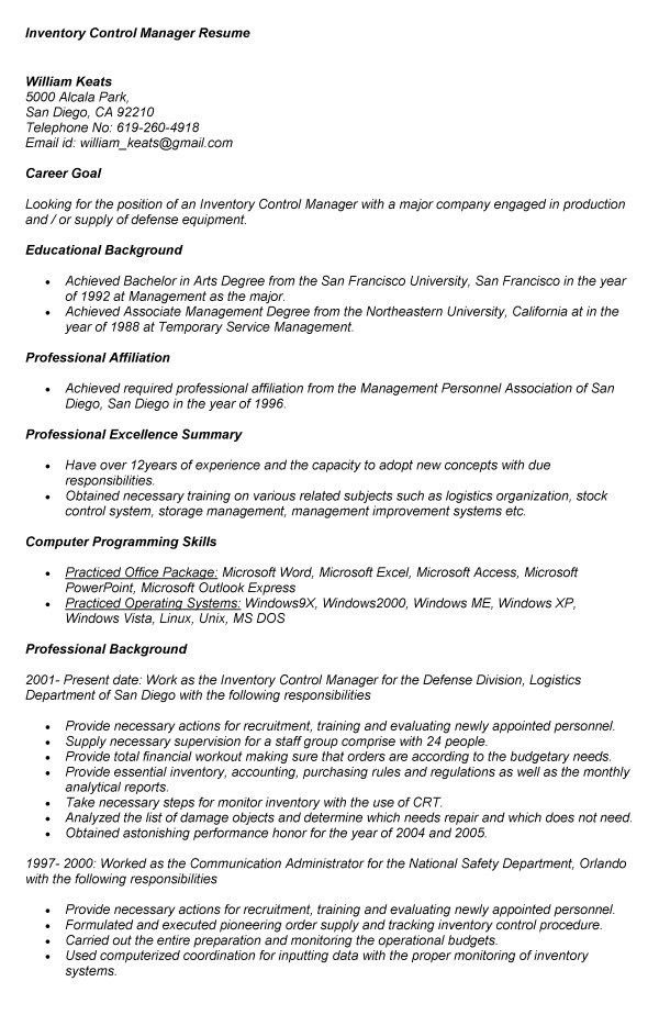 Inventory Manager Resume | berathen.Com