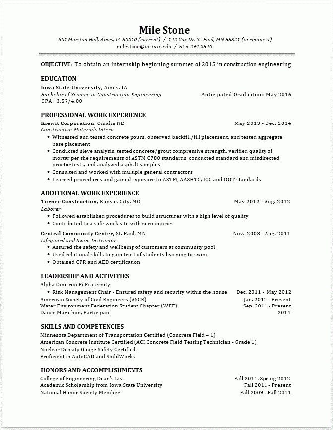 Example Resumes • Engineering Career Services • Iowa State University