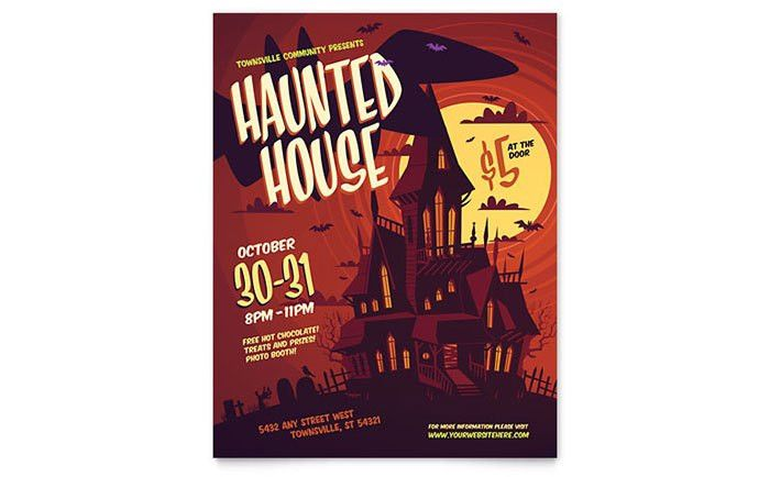 Haunted House Flyer Template Design