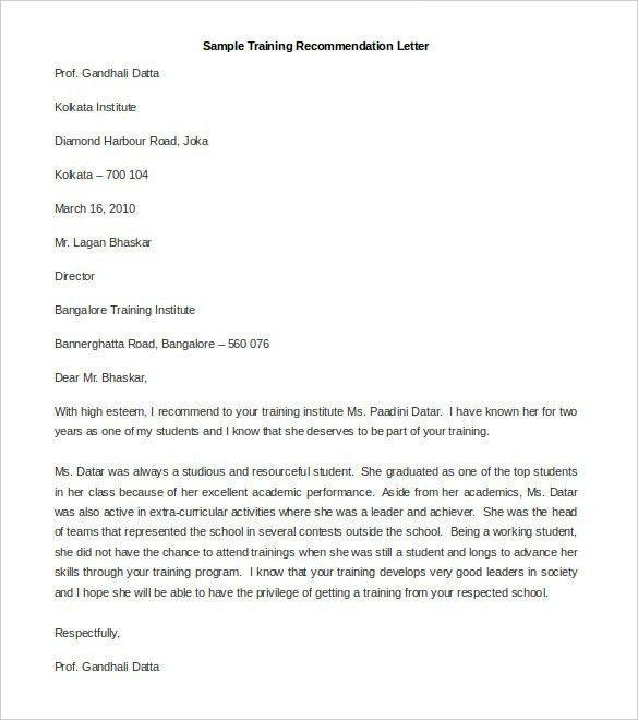 Recommendation Letter Template | ossaba.com
