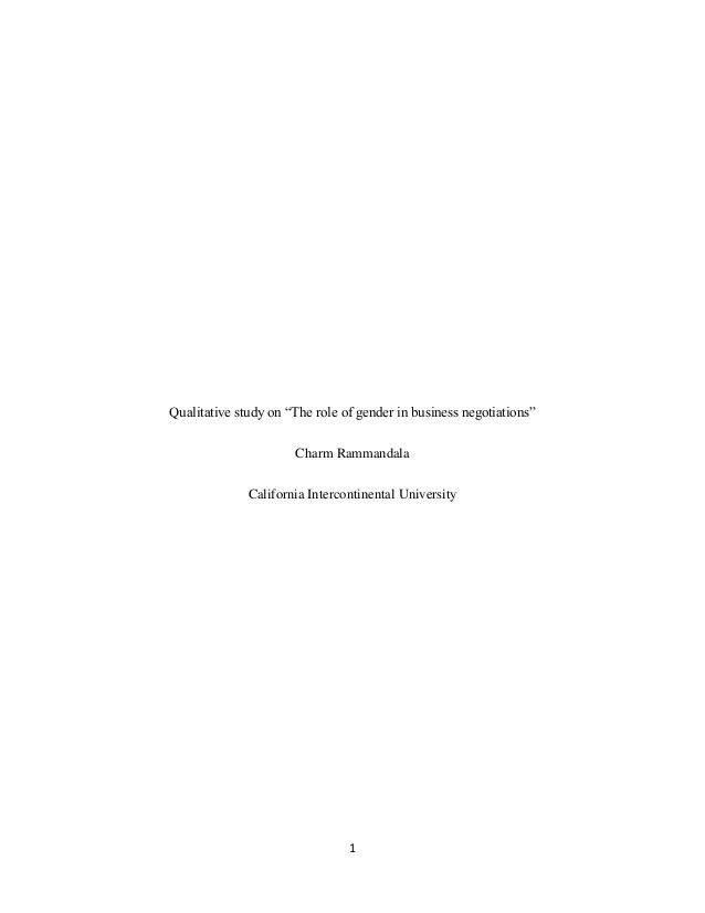 """Qualitative study on """"the role of gender in business negotiations"""""""