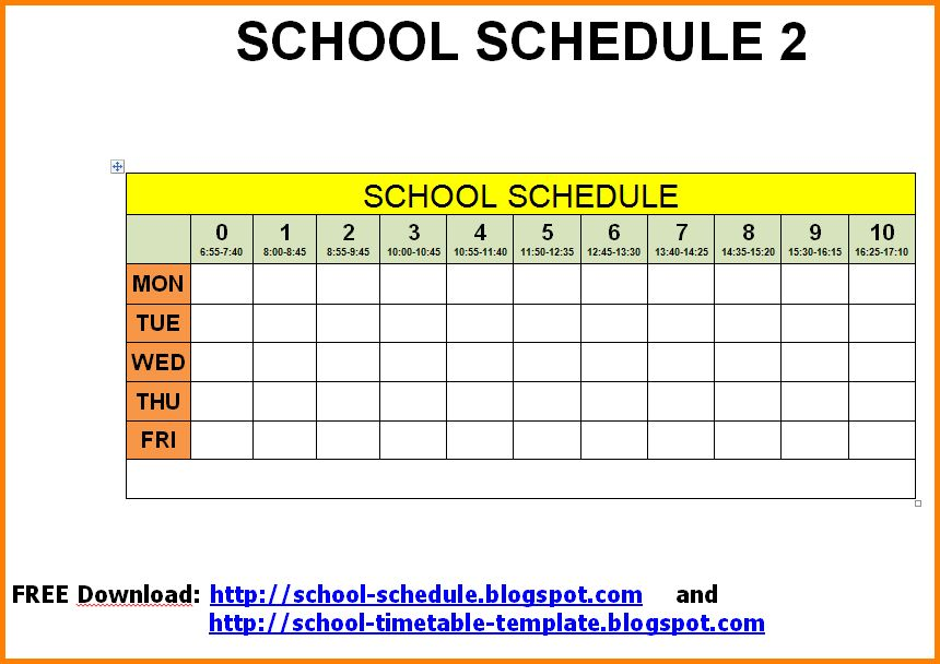 11+ school schedule template | Letter Template Word