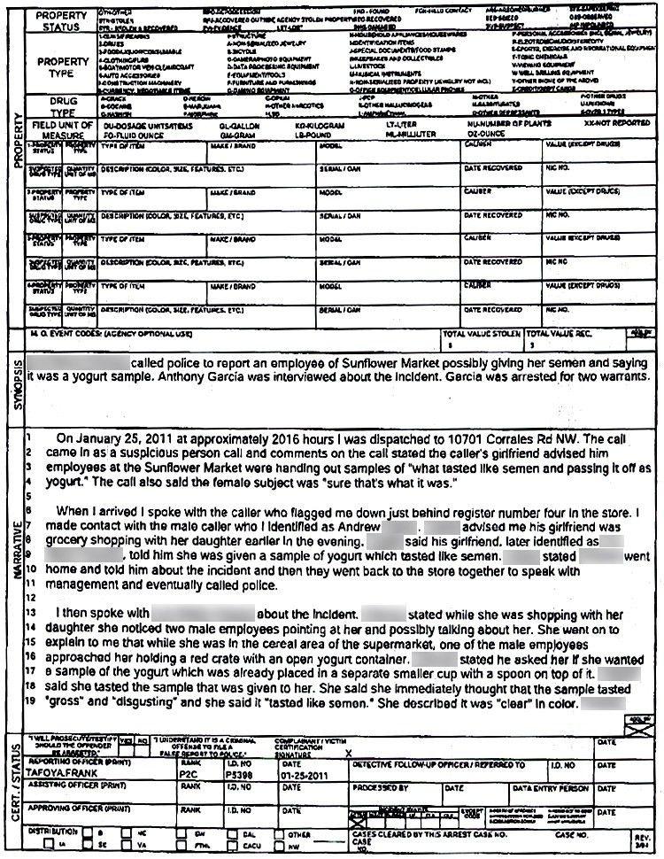 yogurt sample police report