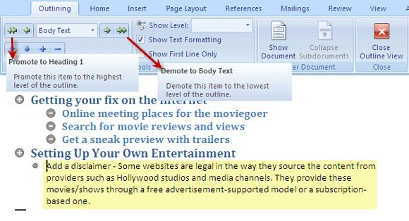 How To Create Outlines & Organize Document in MS Word 2007